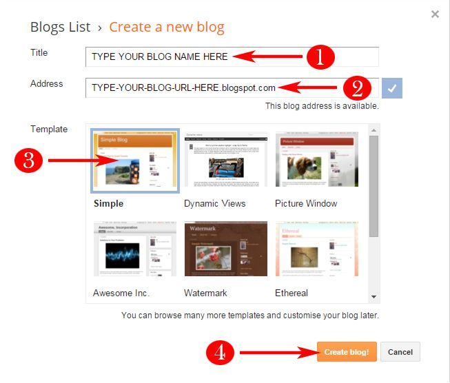 Blog Creation Window