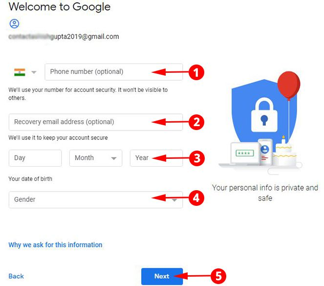 Add Phone, Email and DOB in Gmail Account