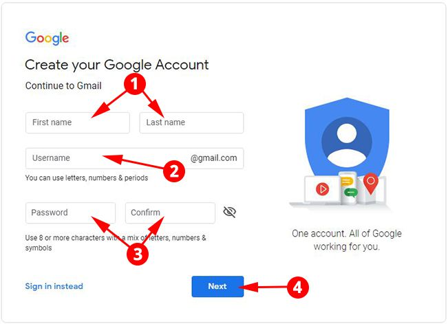 Enter Personal Info in Gmail