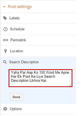Write Search Description in Your Post