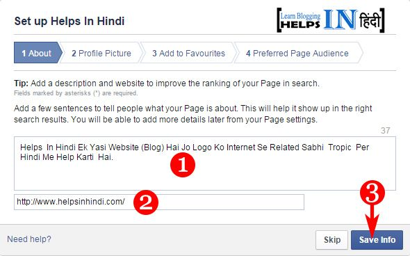 Create Facebook Page Part -4