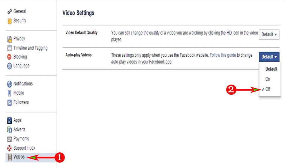 Facebook Viedo Setting