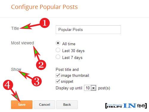 Configure Popular Post
