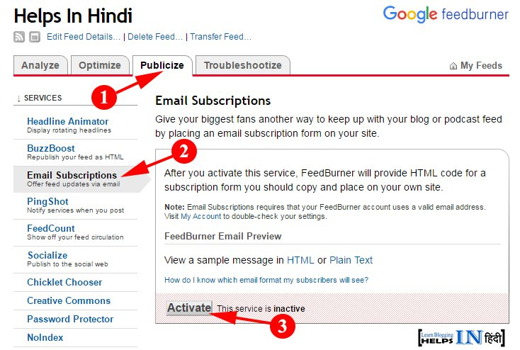 Click On Activate For Enable Email Subscriptions In Feedburner