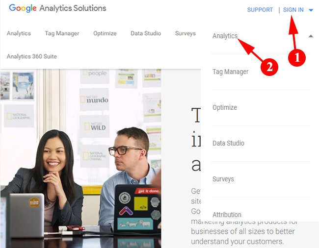 Click On Sign In For Google Analytics