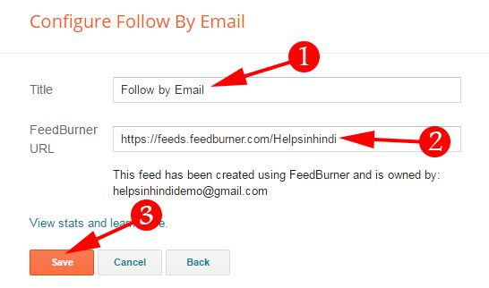 Put Your Feedburner URL