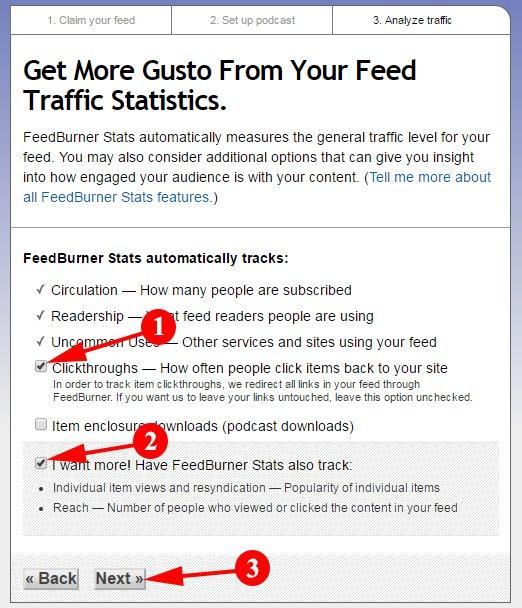 Select Your Feedburner Start Option