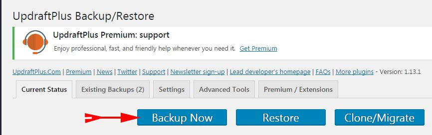 Click On Backup Now
