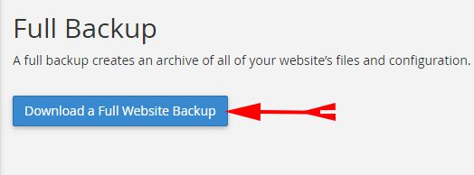 Click On Download a Full Website Backup
