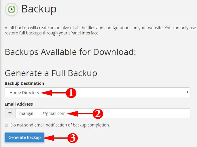Click On Generate Backup