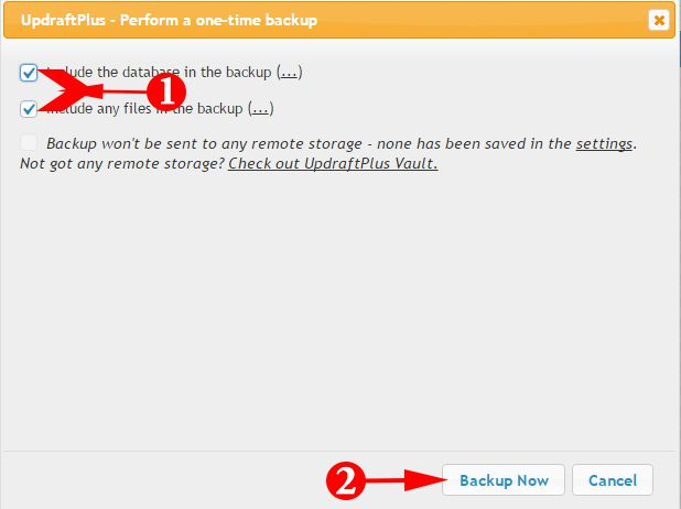 Perform a one-time backup