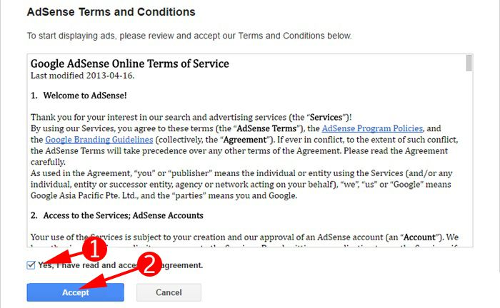 Accept Adsense Terms and Conditions