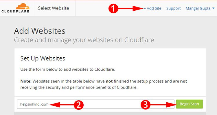 Add your website on Cloudflare