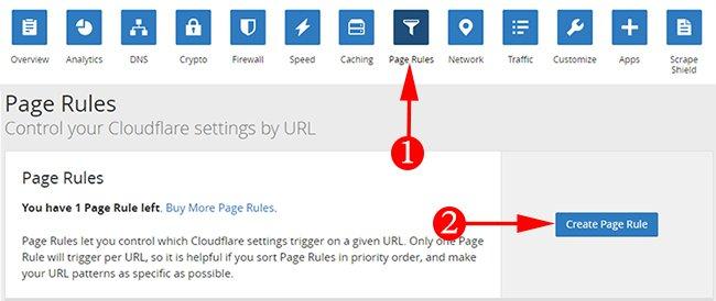 Clcik On Create Page Rule