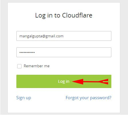 Login in to Cloudflare