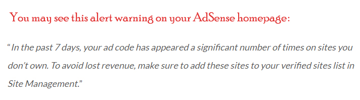 alert warning on your AdSense homepage