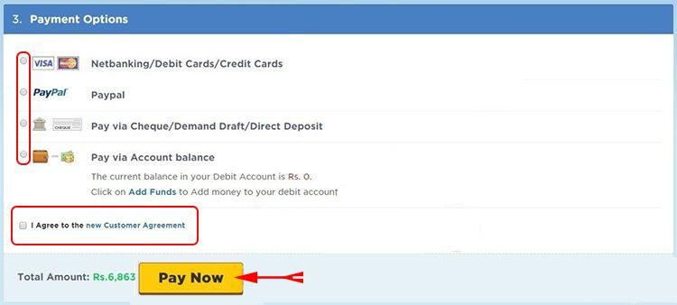 Choose Payment Method to Pay Hostgator India