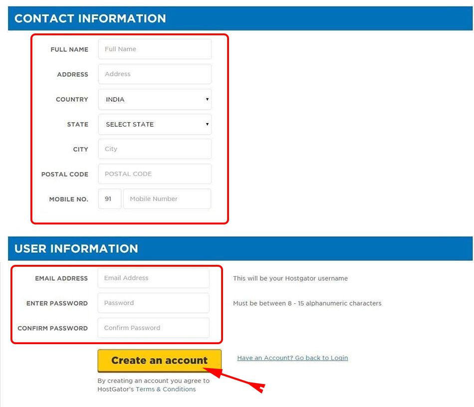Fill Your Detail to Create an HostGator Account