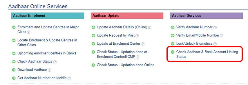 Check Aadhaar & Bank Account Linking Status