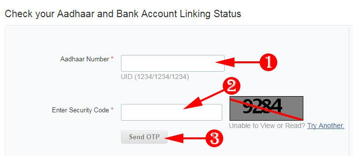 Check your aadhaar and Bank Account Linking Status