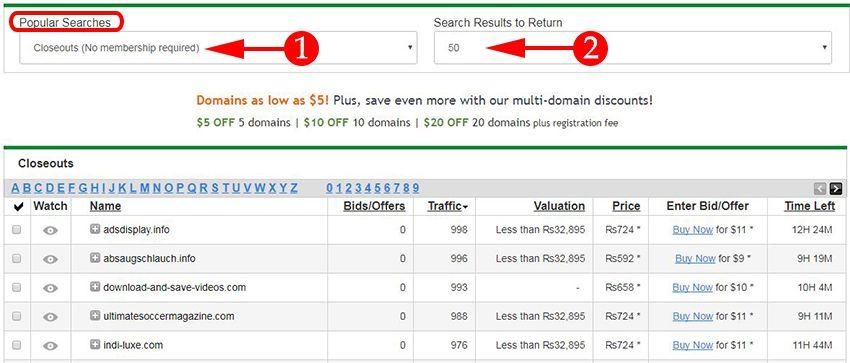 Search expire domain