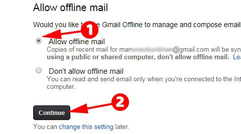 Allow Offline Gmail ko select kare