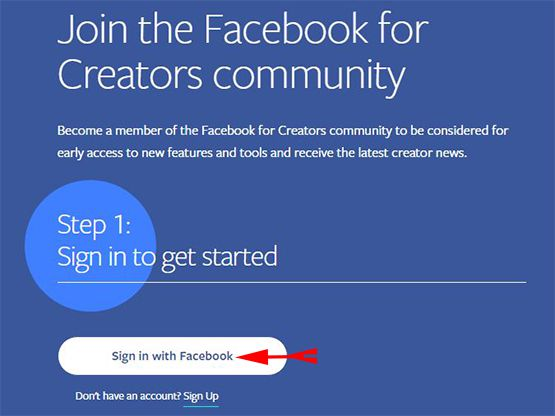 Click on Sign in with Facebook
