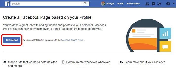 click on get started for Create a facebook profile page