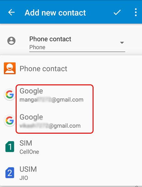 my phone contacts in gmail save