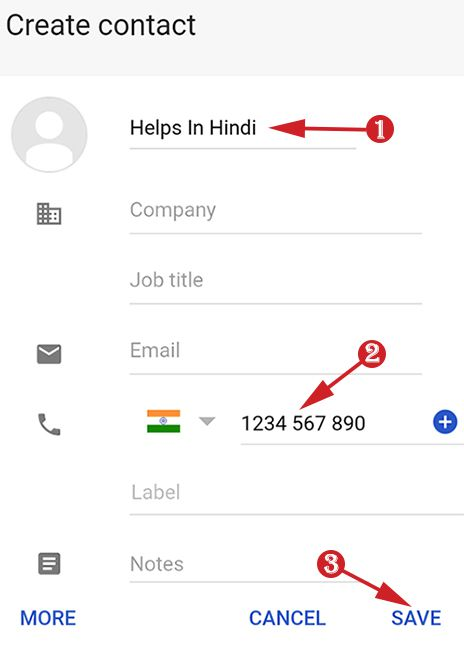 save contact number in google