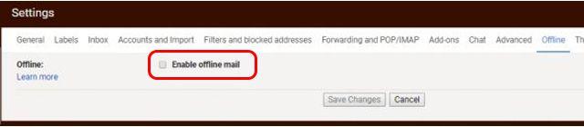 Enable offline mail par click kare