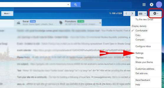 gmail ke setting account me jaye