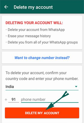 how to delete whatsapp account of others