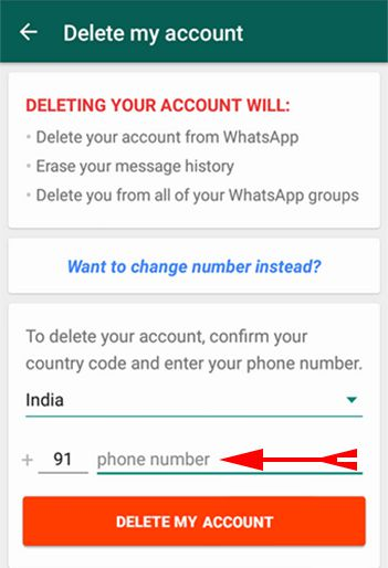 Put your whatsapp number for deleting