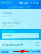 Type password for jio switch app