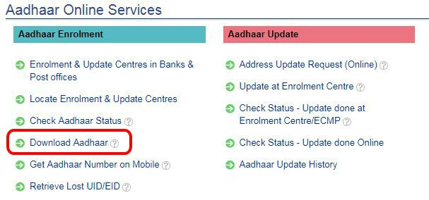 Download Aadhaar ke uper click kare