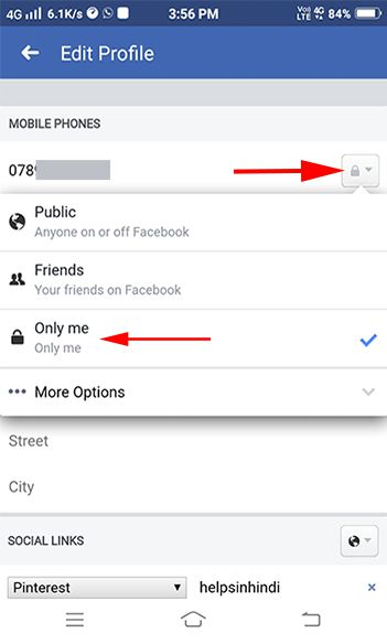 How to hide number in facebook
