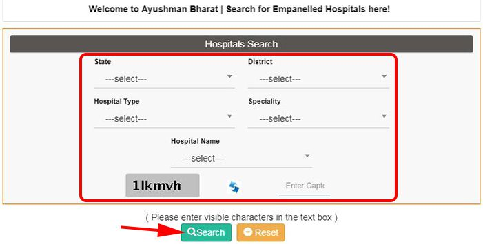 Search Hospitals for Ayushman Bharat Yojana