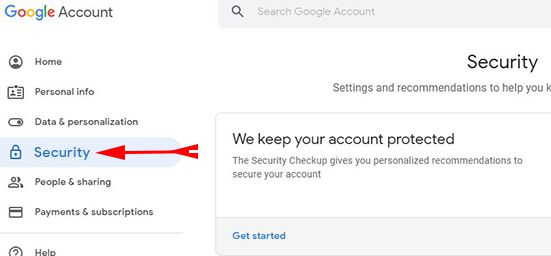 Click on Security option