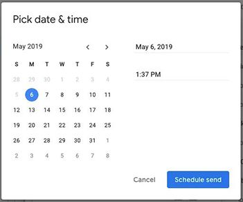 pick date and time schedule email send gmail