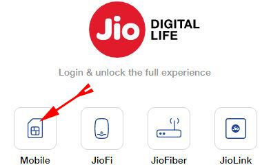 login to your jio account