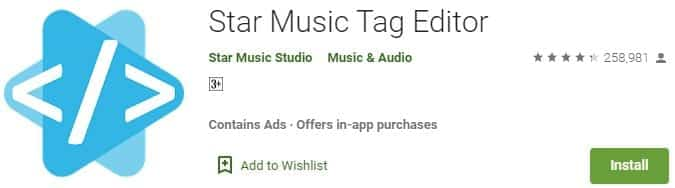 Star Music Tag Editor gana me photo dalne wala apps