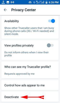truecaller se naam deactivate kare