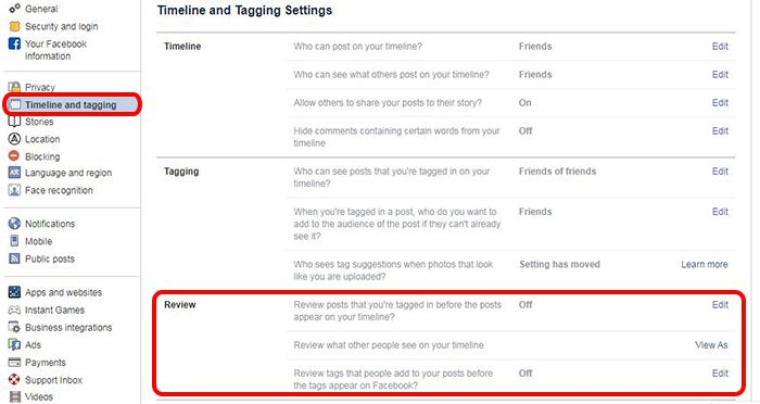 facebook timeline and tagging setting