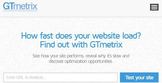 GTmetrix page speed test tool