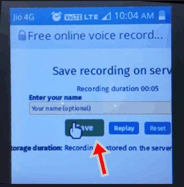Jio voice recording phone