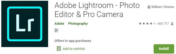 Adobe Lightroom best photo maker app