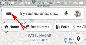 google map app ke menu me jaye