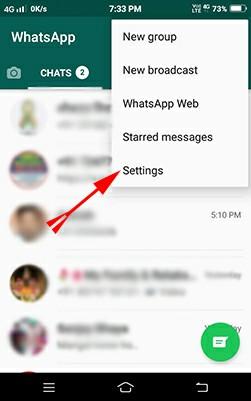 Whatsapp status setting