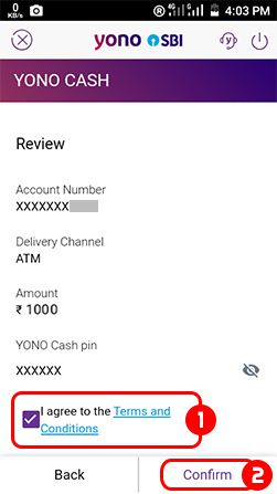 Accept terms and condition Sbi Yono App